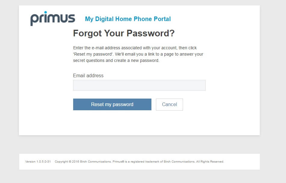 forgot password form